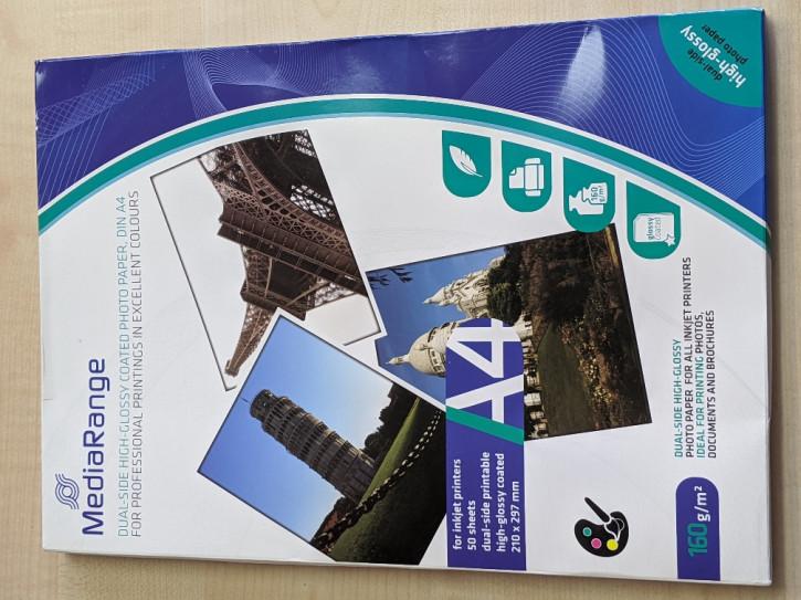 50 Blatt A4 Inkjet Papier 150g 1-seitig beschichtet photo-glänzend
