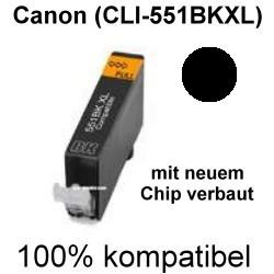 Drucker-Patrone kompatibel Canon (CLI-551 BK XL) Photo Black mit Chip Pixma IP 7200 Series IP 7250, IP 8700, IP 8750, IX 6800 Series, IX 6850, MG 5400 Series, MG 5450, MG 5500 Series, MG 5550, MG 5600 Series, MG 5650, MG 5655, MG 6300 Series, MG 6350, MG