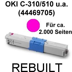 Toner-Patrone rebuilt Oki (44469705) Magenta C-310/330/331/510/511/530/531,MC-351/352/361/362/561/562