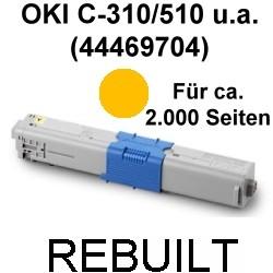 Toner-Patrone rebuilt Oki (44469704) Yellow C-310/330/331/510/511/530/531,MC-351/352/361/362/561/562